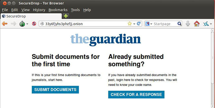 A screenshot from securedrop.theguardian.com
