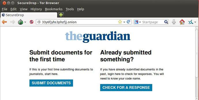 A screenshot from securedrop.theguardian.com