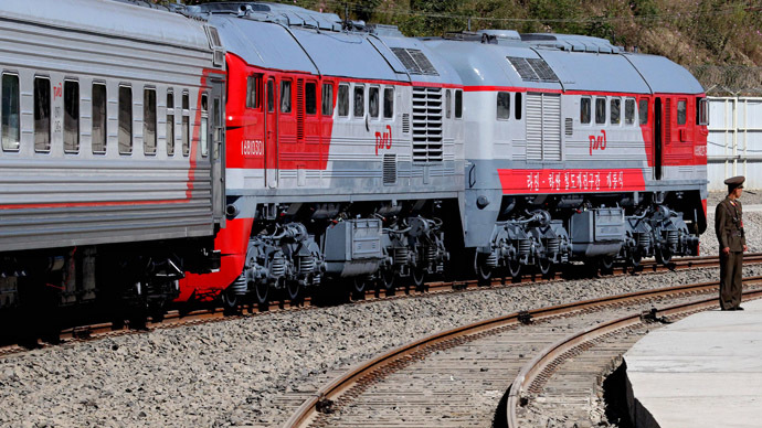 A Russian train has arrived for the opening ceremony of the railroad section from Khasan station in Primorye Territory, Russia, to Rajin station in North Korea. (RIA Novosti/Vitaliy Ankov)