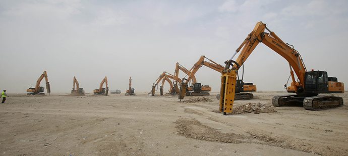 An image made avilable by the Qatar's Supreme Committee for Delivery & Legacy (SC), on May 20, 2014, shows work starting in the second phase of construction at al-Wakrah Stadium, one of the proposed host venues to be delivered ahead of the Qatar 2022 FIFA World Cup. (AFP Photo)