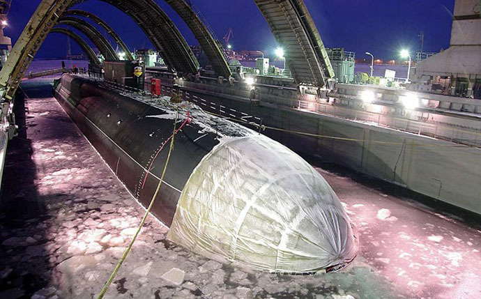 "The nuclear submarine ""Aleksandr Nevsky"" launched into the water (Photo courtesy of ""Sevmash"" press service)"