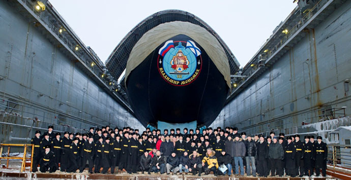 "The crew of the nuclear submarine ""Vladimir Monomakh"" (Photo courtesy of ""Sevmash"" press service)"