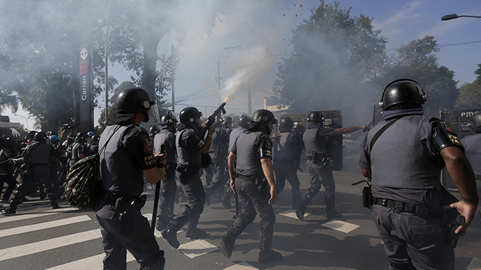Tear gas, stun grenades: Brazilian police disperse protesters hours before WC opener