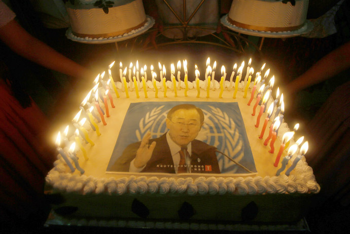 A cake with an image of United Nations Secretary-General Ban Ki-moon is seen on a cake to celebrate his 70th birthday during an event organized by Bolivia's President Evo Morales in El Torno, near Santa Cruz de la Sierra, June 13, 2014. (Reuters/David Mercado)