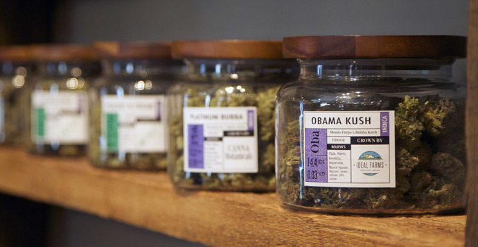 "Marijuana-based products are displayed at the ""Oregon's Finest"" medical marijuana dispensary in Portland, Oregon April 8, 2014. (Reuters)"