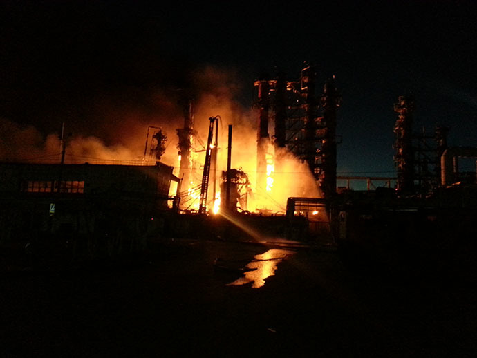 Fire at Achinsk refinery in Russia's Krasnoyarsk region on June 16. Image from 24.mchs.gov.ru