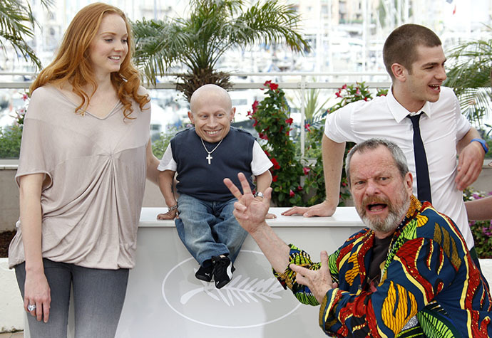 "Director Gilliam poses with cast members cast members Cole, Troyer and Garfield during a photocall for the film ""The imaginarium of Doctor Parnassus"" at the 62nd Cannes Film Festival (Reuters / Vincent Kessler)"