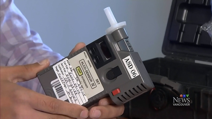 Cannabix Breathalyzer. Screenshot courtesy CTV News, 2014