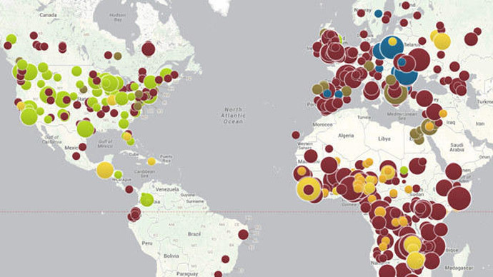 Measles outbreaks (purple) worldwide and whooping cough (green) in the U.S., thanks in part to the anti-vaccination movement. (Council on Foreign Relations), (image from www.latimes.com)