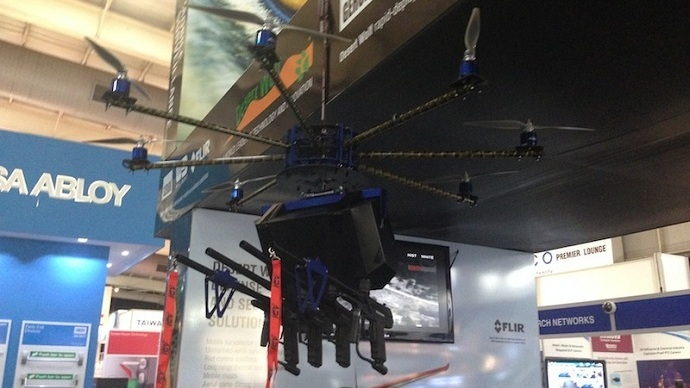 Riot control drone armed with paintballs and pepper spray hits market