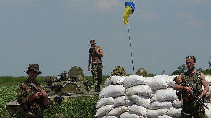 A checkpoint of the Ukrainian military in Amvrosievka, Donetsk Region. (RIA Novosti / Maksim Blinov)