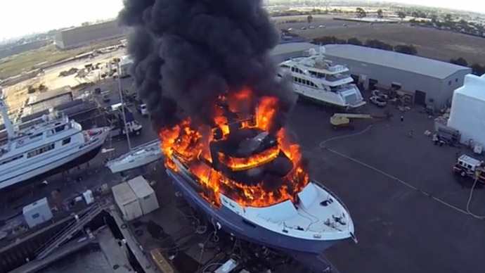 Drone captures $24 mn dream yacht going up in flames
