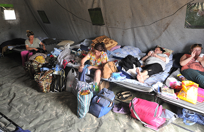 Women from southeastern Ukraine at a refugee camp in Donetsk, Rostov Region, June 20, 2014. (RIA Novosti / Sergey Pivovarov)