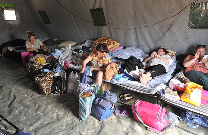 Women from southeastern Ukraine at a refugee camp in Donetsk, Rostov Region, June 20, 2014. (RIA Novosti / Sergey Pivovarov)