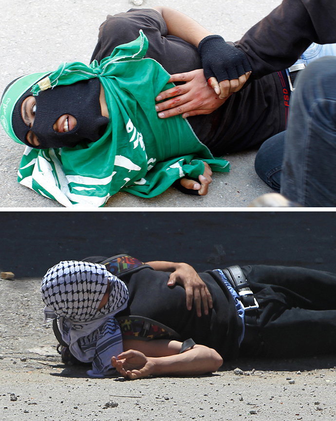 "A May 15, 2014 combo shows Palestinian youths Mohammed Udeh, 16, (top), and Nadeem Nuwarah, 17, lying on the ground after they were shot by Israeli forces during clashes following a protest outside the Israeli-run Ofer prison in the Palestinian village of Betunia in the occupied West Bank marking ""Nakba"" or ""catastrophe"" of the Jewish state's creation (AFP Photo / Abbas Momani)"