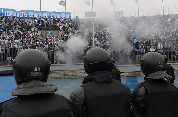 Disturbances at the bleachers during the game between FC Zenit St. Petersburg and FC Dynamo Moscow at the the 29th round of the Russian Football Premier League (RIA Novosti / Alexey Danichev)