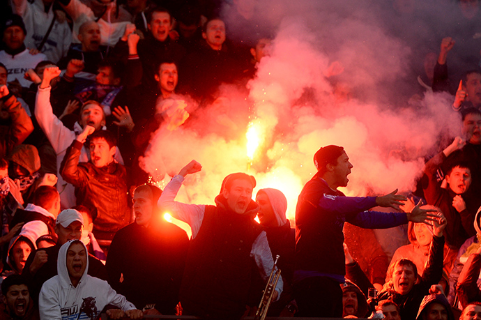 Fans during the 11th-round Russian Football Premier League match between football clubs Zenit St. Petersburg and Spartak Moscow (RIA Novosti / Roman Yandolin)