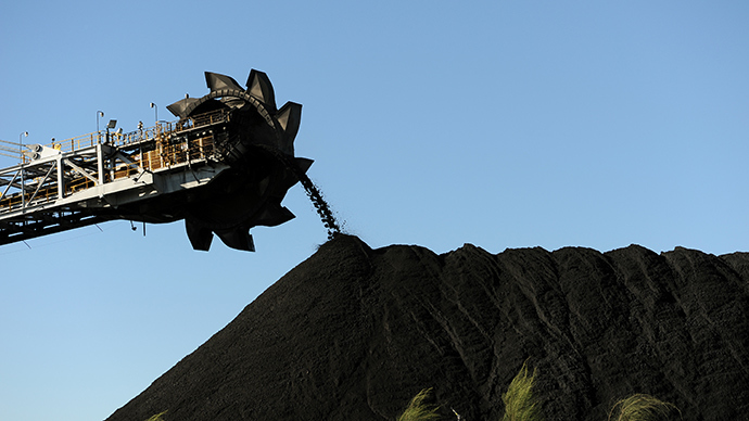 Coal being stockpiled at the coal port of Newcastle in Australia's New South Wales state (AFP Photo)