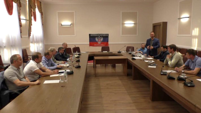 Trilateral meeting in Donetsk (Screenshot from video)