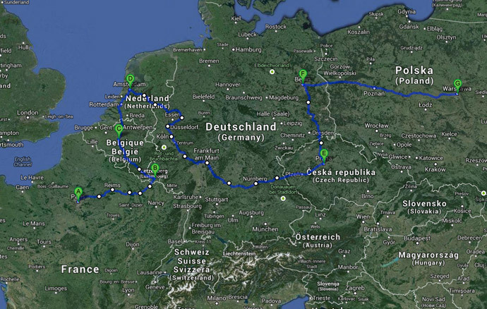 Dubanchet's route from Paris to Warsaw (image from http://lafaimdumonde2014.com)