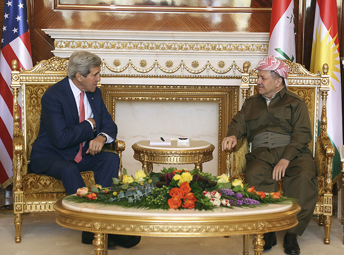 Kurdish Regional Government President Massoud Barzani (R) meets with U.S. Secretary of State John Kerry (L) in Arbil, in Iraq's Kurdistan region June 24, 2014. (Reuters)