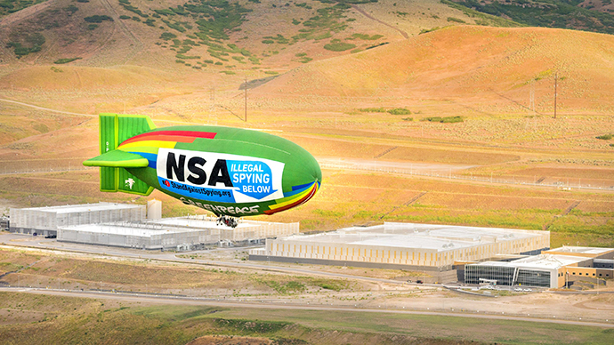 A coalition of grassroots groups from across the political spectrum joined forces to fly an airship over the NSA's data center in Bluffdale, Utah on Friday, June 27, 2014, to protest the government's illegal mass surveillance program. (Photo by Greenpeace)