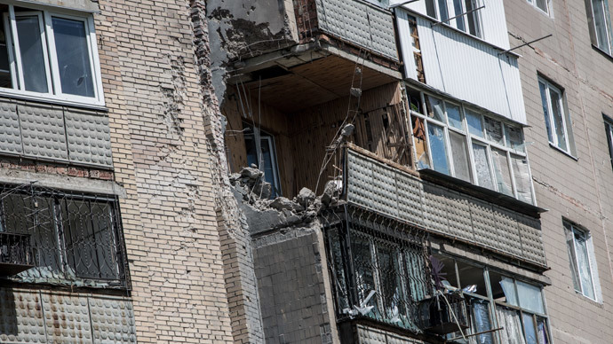 The destroyed facade of a residential building in the Artyom microdistrict in the town of Slavyansk after the Ukrainian army's shelling.(RIA Novosti / Andrey Stenin)