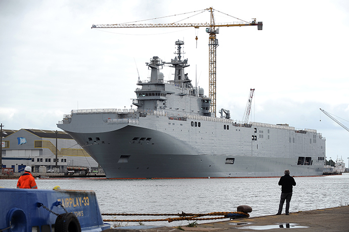 A photo taken on May 9, 2014 in Saint-Nazaire, western France, shows the Vladivostok warship, a Mistral class LHD amphibious vessel ordered by Russia to the STX France shipyard. The Vladivostok warship is one of two navy ships ordered to France by the Russian army (AFP Photo)