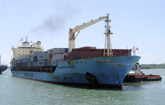 U.S.-flagged container ship, Maersk Alabama which was hijacked by Somali pirates in 2009. Howard headed up counter-piracy Combined Task Force 151 when the hijacking too place.