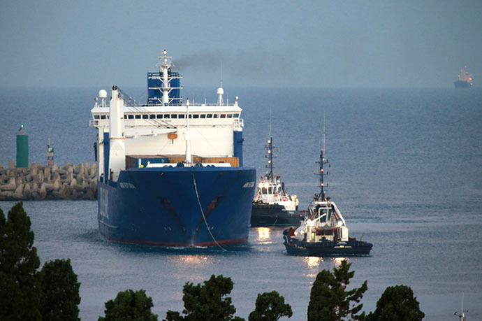 Danish ship Ark Futura arrives in the port of Gioia Tauro, southern Italy, on July 2, 2014 for the transfer of chemical weapons from Syria to be destroyed. (AFP Photo / Mario Tosti)