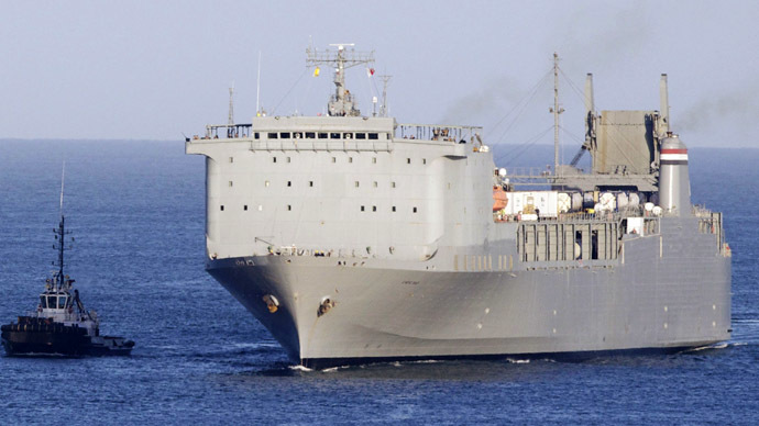 600 tons of Syria's chemical arsenal loaded onto US 'neutralizer' ship
