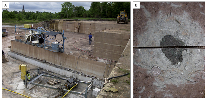 A screenshot from the study by B. Schmitz et al. published in 'Earth and Planetary Science Letters' (2014). (A) Thorsberg quarry on June 15, 2013. (B) The 'Mysterious Object' from the Glaskarten 3 bed.