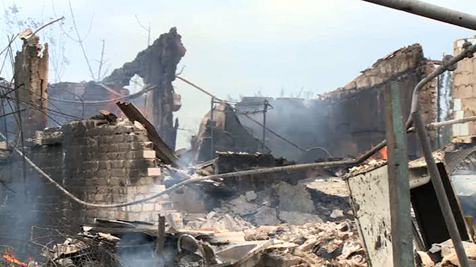 The village of Kondrashovka destroyed by Kiev troops (Still from RT video)