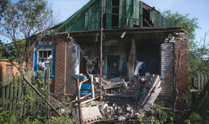 A mortar shell fired by Ukrainian military hit an ordinary residential building in Andreyevka village (Image from mid.ru)