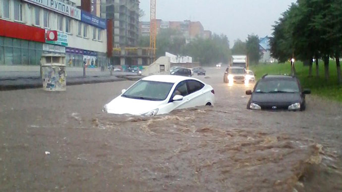 Underwater City? Cars submerged and floating in Russian town after downpour (PHOTOS, VIDEO)