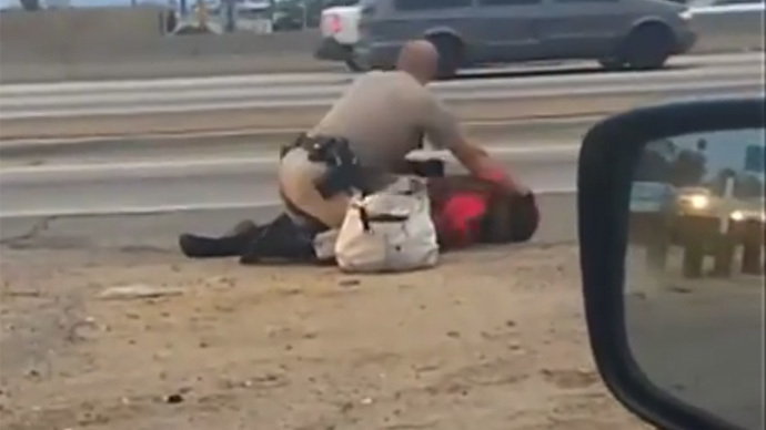 California Highway Patrol 'to investigate' officer's brutal roadside beating of woman (VIDEO)