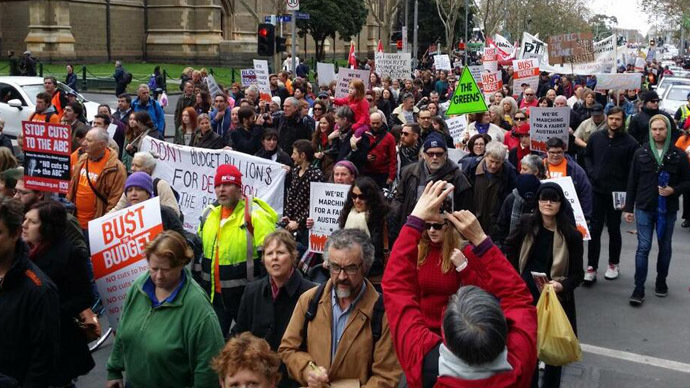 Bust the budget! Thousands of Australians protest Abbott's austerity (PHOTOS)