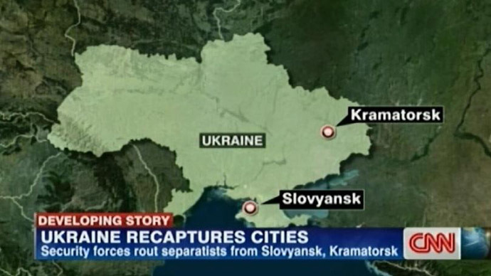 Lost again: CNN map places E. Ukraine's Slavyansk in… Crimea?