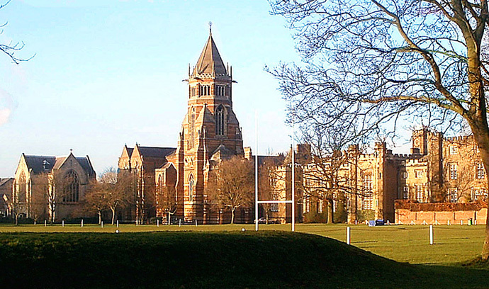 "Rugby School as seen from ""the close"" where according to legend Rugby football was invented. (image from wikimedia.org)"