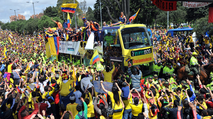 Colombia team gets hero's welcome home after best ever performance at WC