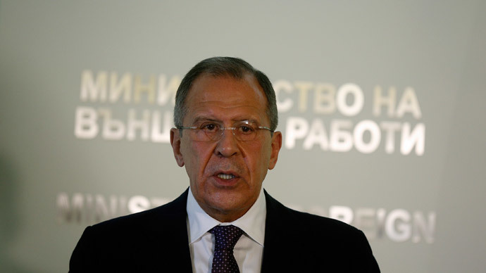 Russia's Foreign Minister Sergei Lavrov speaks during a news conference after his meeting with his Bulgarian counterpart Kristian Vigenin (not seen) in Sofia July 7, 2014.(Reuters / Stoyan Nenov )