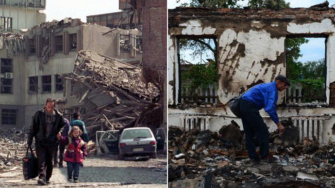 Kosovo April 07, 1999.(Reuters / Goran Tomasevic) Slaviansk on June 24, 2014.(AFP Photo / John Macdougall)