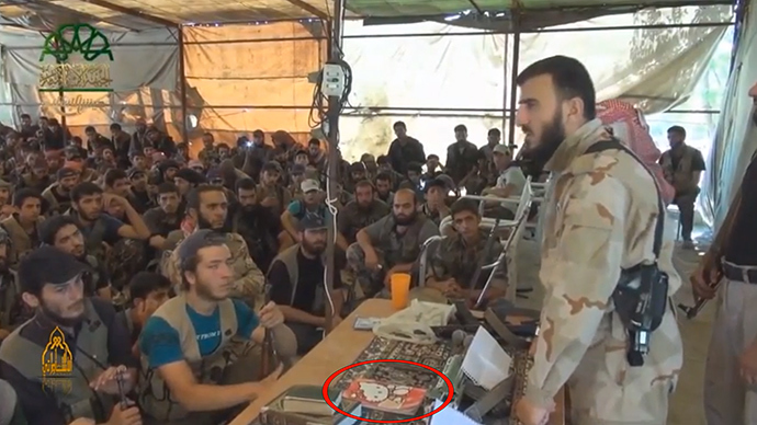 Viral: Anti-ISIS Syria rebel commander delivers speech with 'Hello Kitty' notebook