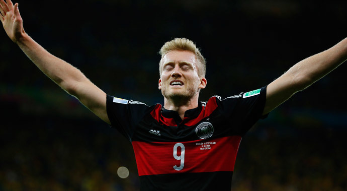 Germany's Andre Schuerrle celebrates after scoring the team's seventh goal during their 2014 World Cup semi-finals against Brazil at the Mineirao stadium in Belo Horizonte July 8, 2014.(Reuters / Damir Sagolj)
