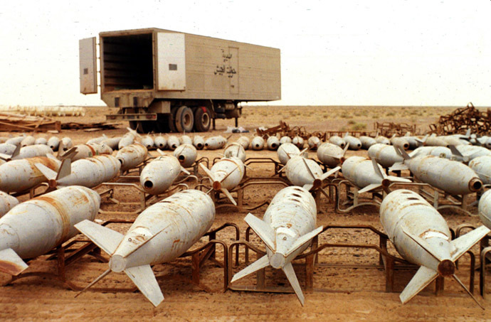 Undated file picture shows Chemical 500 pound aerial bombs filled with chemical warfare agents awaiting destruction by UNSCOM inspectors in charge of disarming Iraq at Muthanna south east of Iraq. (AFP Photo)