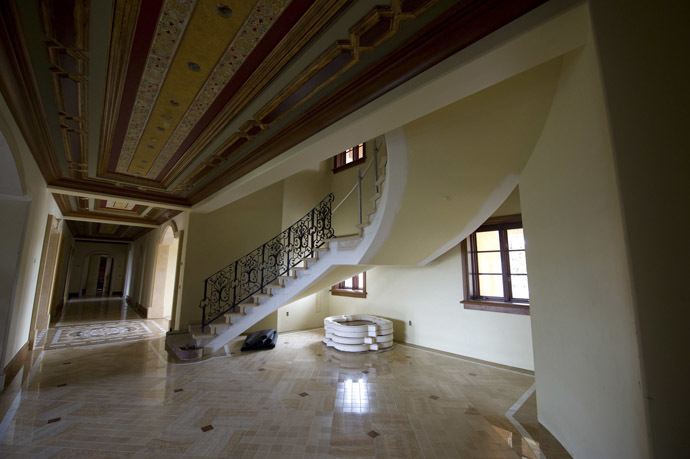 The staircase on a ground floor area of a for sale, $37 million dollar luxury home at One Pelican Hill Road North is seen in Newport Beach, California (Reuters/Lori Shepler)