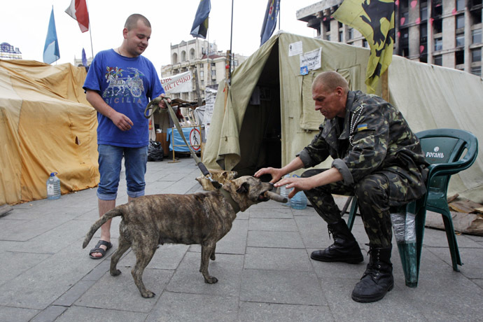 Maidan self-defense activists play with a dog in the tent city on Independence Square in Kiev May 30, 2014. (Reuters)