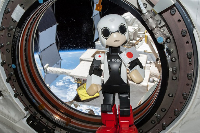This handout photo taken on August 21, 2013 and released from 2013.KIBO-ROBOT on September 5, 2013 shows humanoid robot Kirobo 'speaking' in the International Space Station (ISS). (AFP Photo)