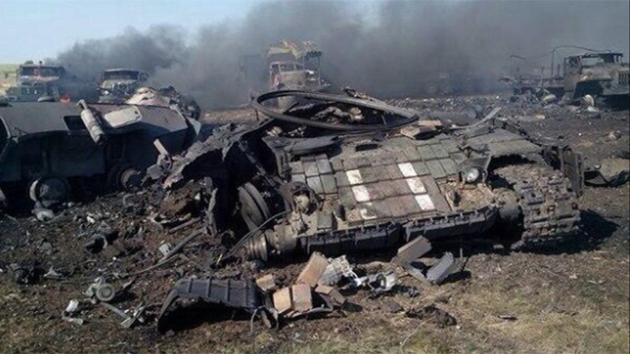 'At least 30' Ukrainian military killed as militia shell convoy with Grad rockets