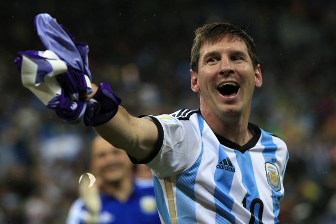 Argentina's forward and captain Lionel Messi celebrates his team's victory at the end of the semi-final football match between Netherlands and Argentina of the FIFA World Cup at The Corinthians Arena in Sao Paulo on July 9, 2014. (AFP Photo/Andrian Dennis)